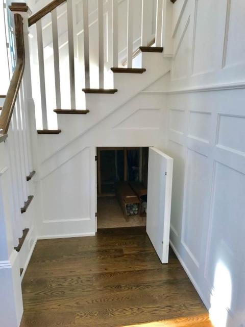 wainscote under stairs